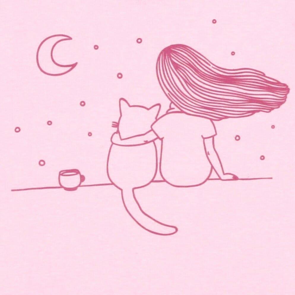 """Bluza Bebe Maneca Lunga Roz Pal """"privind Luna..."""""""