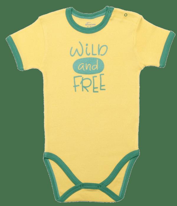 "Body Copii, Cu Maneca Scurta, Galben ""wild And Free"""