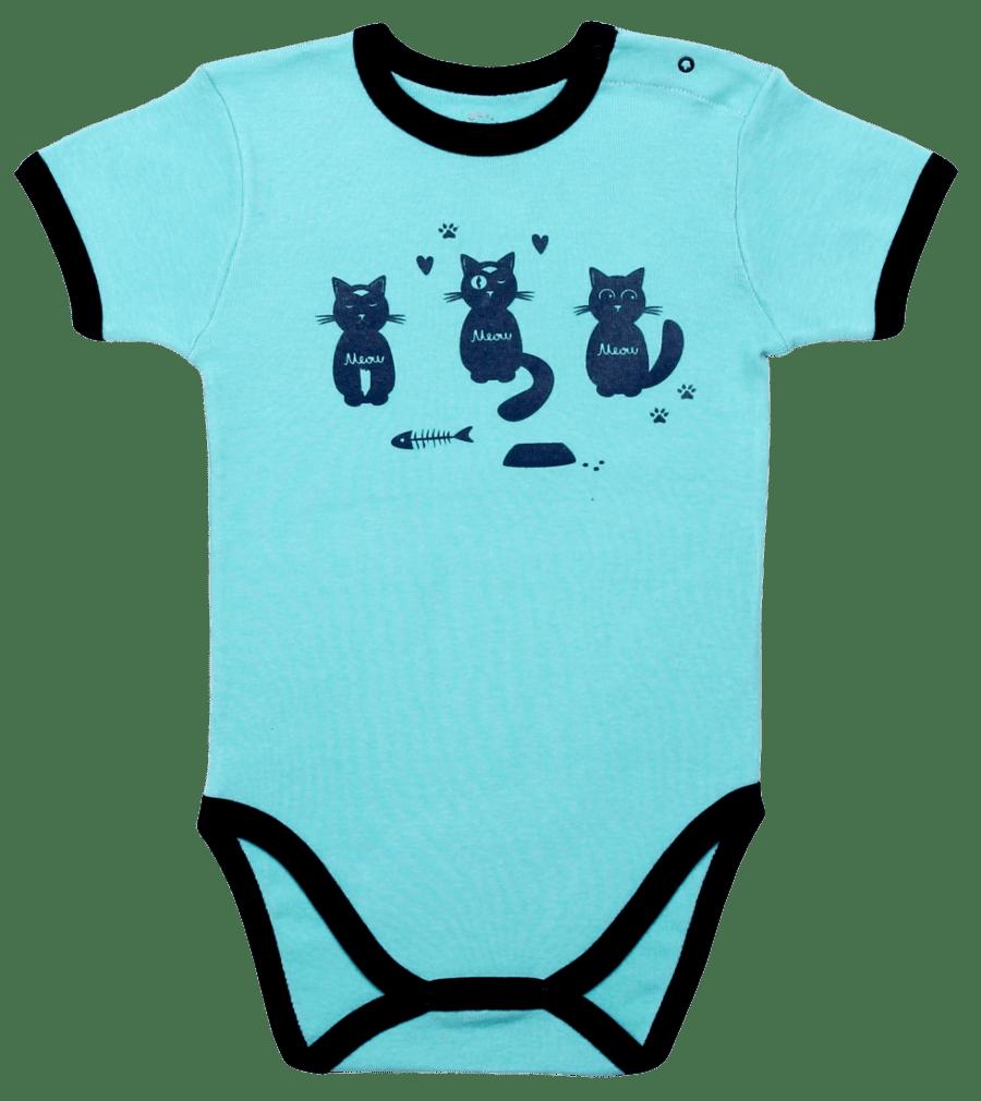 "Body Copii, Maneca Scurta, Bleu Aqua ""pisici"""