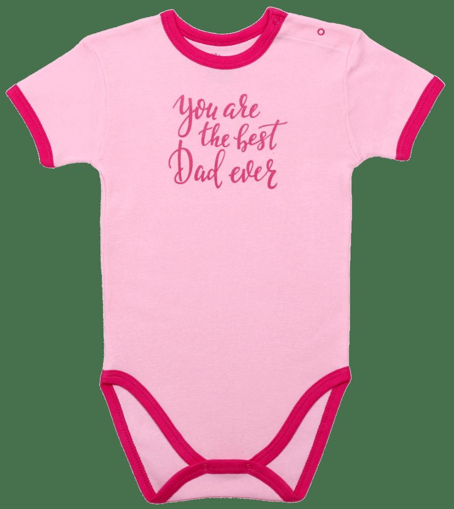 "Body Copii, Maneca Scurta, Roz ""best Dad Ever"""