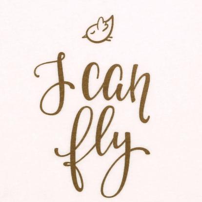 "Body Copii Tip Maiou, Crem, Mesaj ""i Can Fly"""