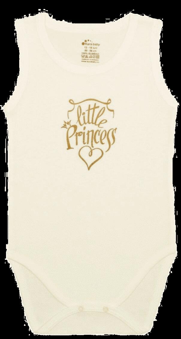 "Body Copii Tip Maiou, Crem, Mesaj ""little Princess"""