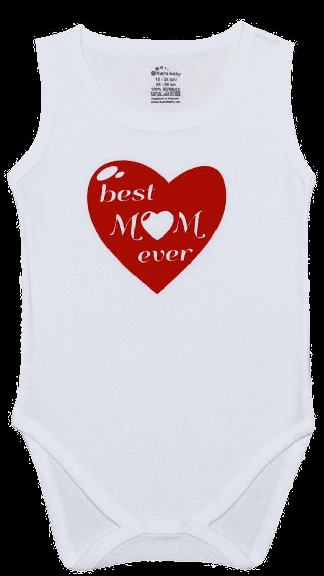 "Body Copii Tip Maiou, Mesaj ""best Mom Ever"""