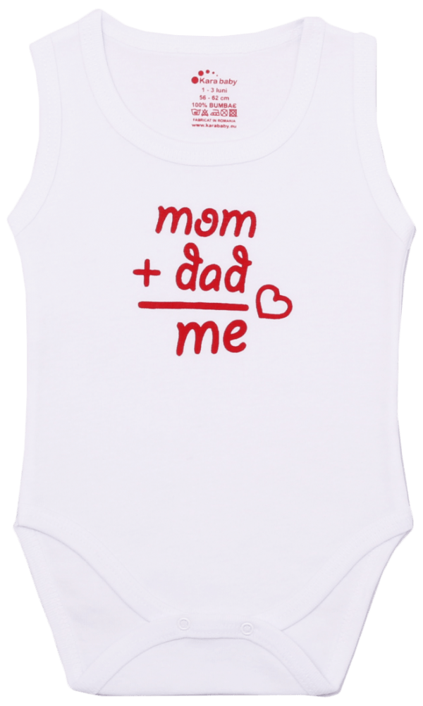 "Body Copii Tip Maiou, Mesaj ""mom+dad"""