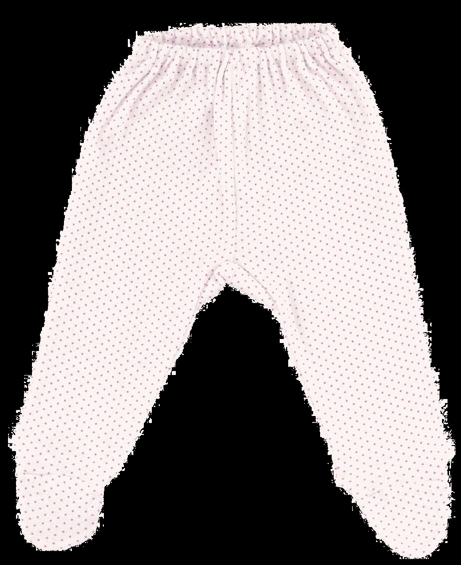 Pantalon Cu Botosei, Alb Cu Buline Ciclam