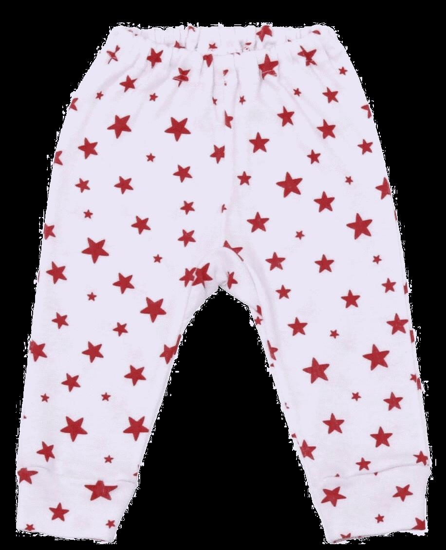 Pantalon Cu Manseta, Alb Cu Stelute Rosii