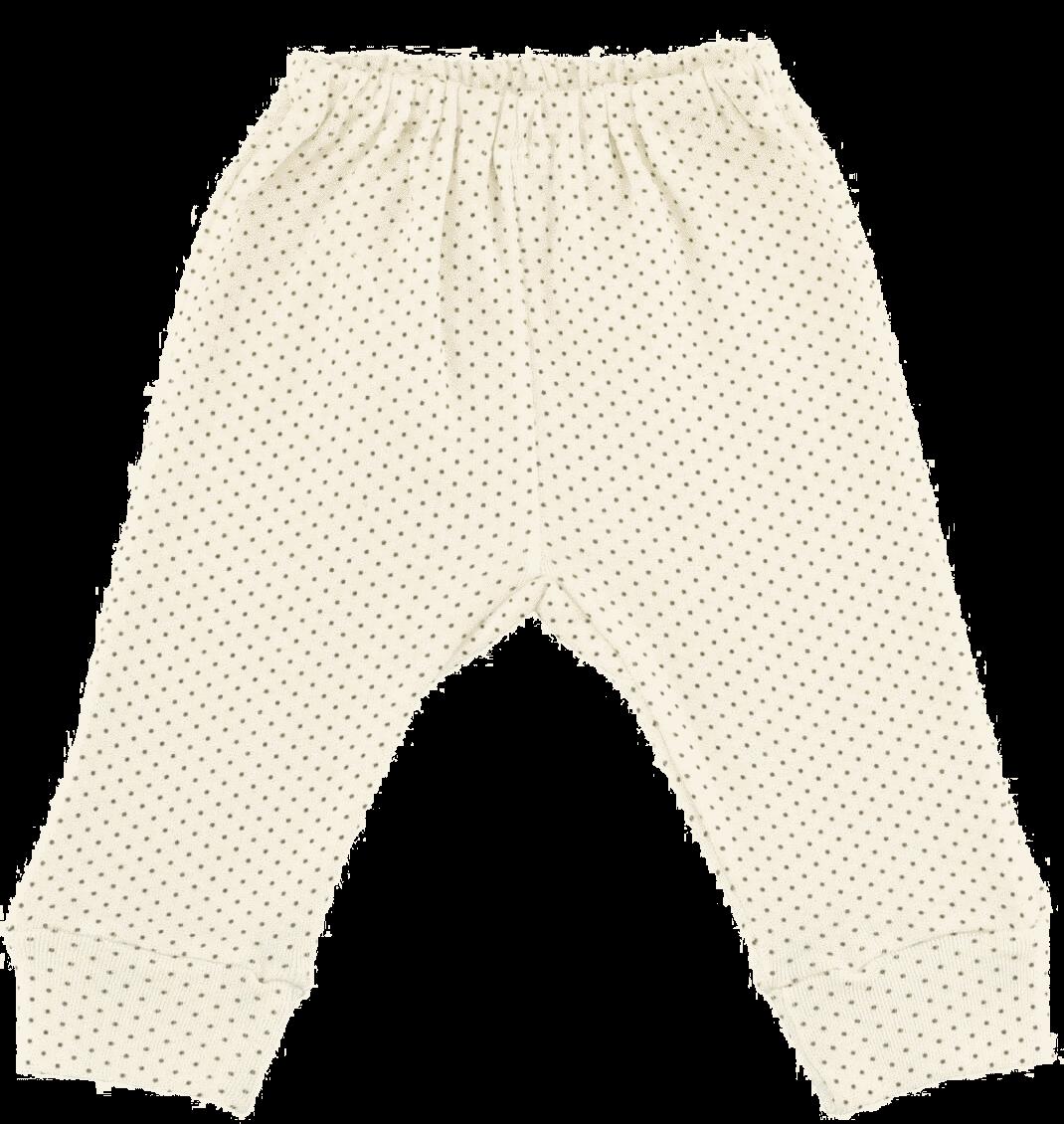 Pantalon Cu Manseta Crem Cu Buline Aurii