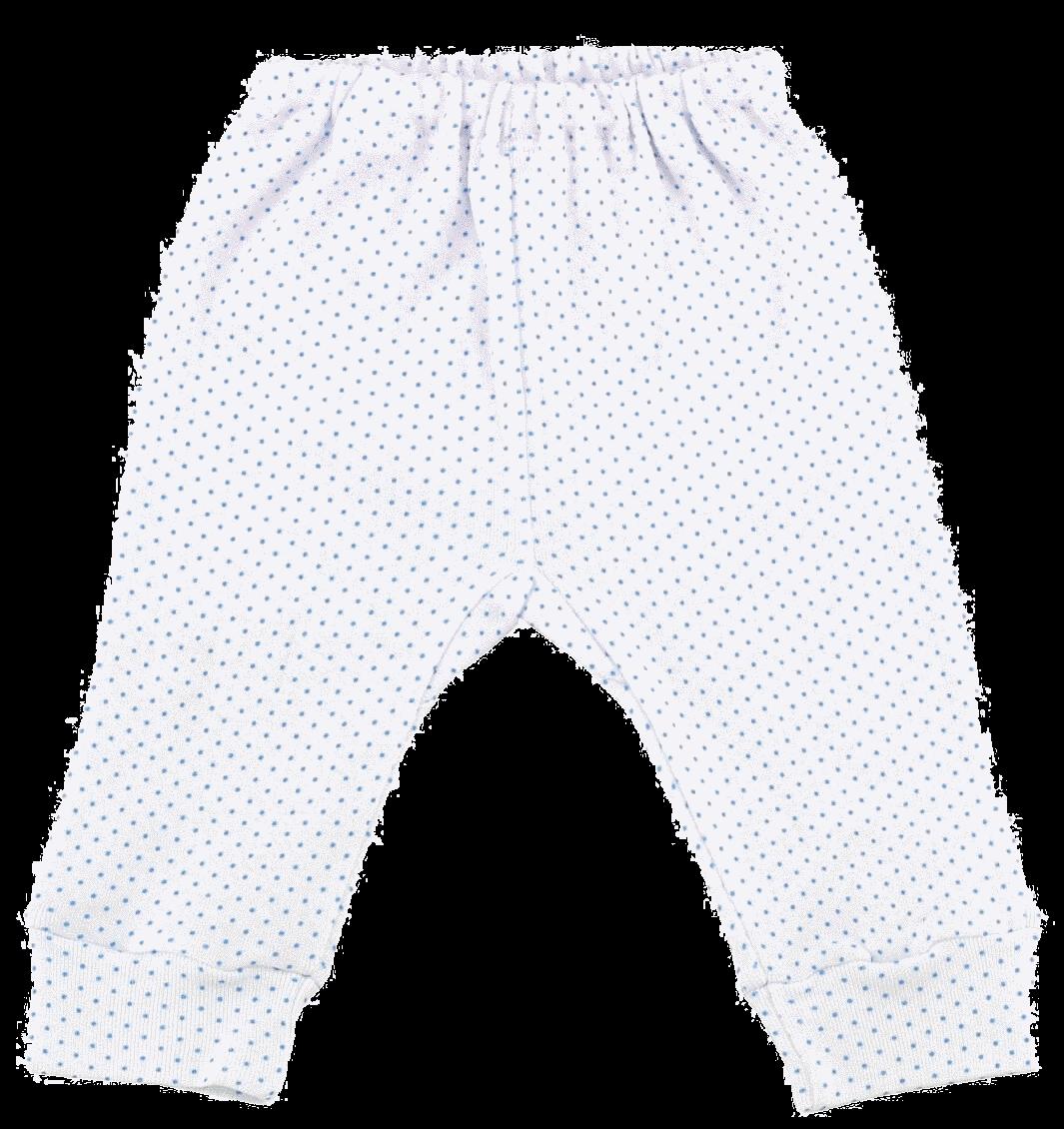 Pantaloni Bebe Cu Manseta, Alb Cu Buline Bleu