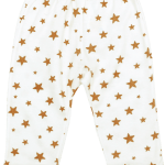 Pantaloni Bebe Cu Manseta, Crem Cu Stelute Maro Aurii