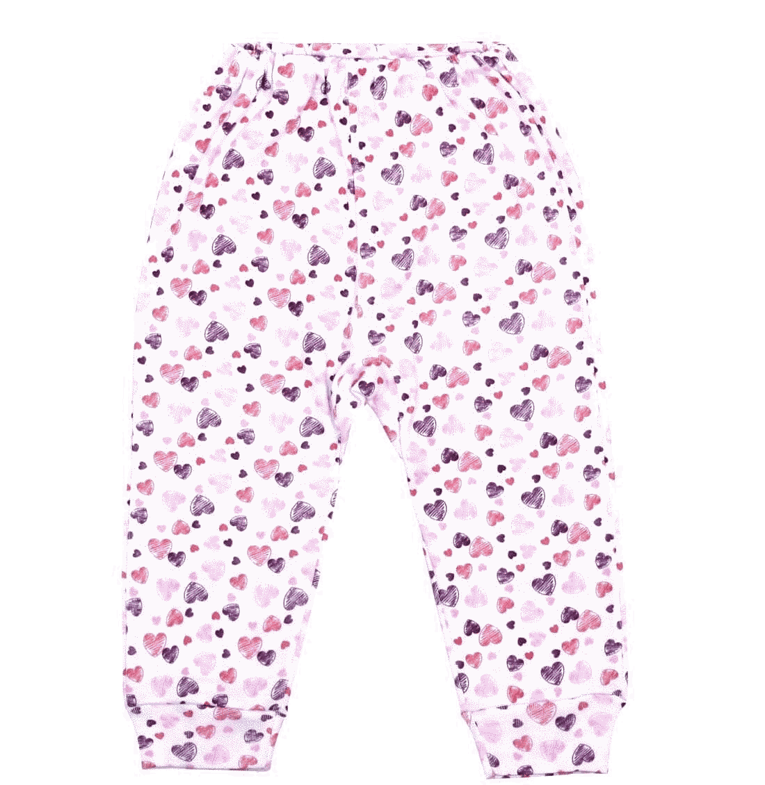 Pantaloni Bebe Cu Manseta, Inimi Rosii, Roz Si Mov