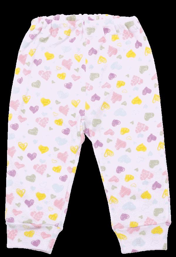 Pantaloni Bebe Cu Manseta, Inimioare Colorate