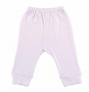 Pantaloni Cu Manseta Albi Cu Buline Lila