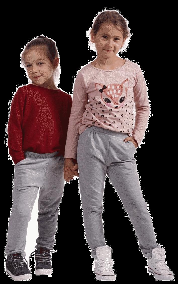Pantaloni Cu Falduri Pentru Fetite , Gri Melanj