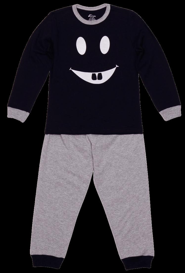 "Pijama Bebe Cu Maneca Lunga, Bicolora ""dinti"""