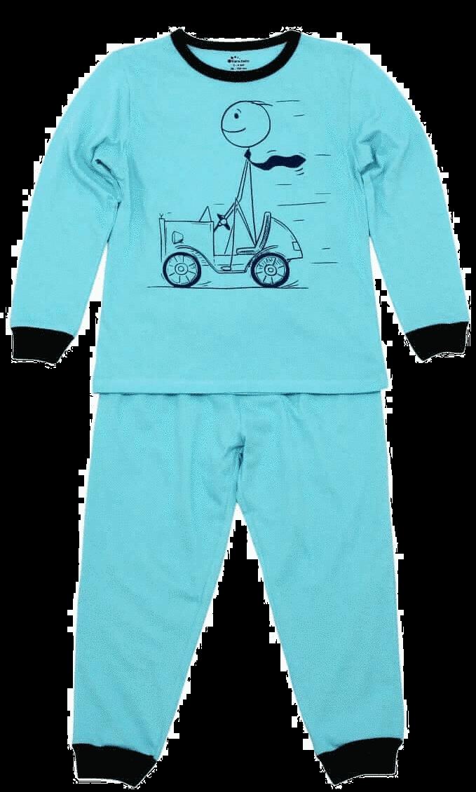 """Pijama Bebe, Cu Maneca Lunga, Bleu Aqua, """"automobilist"""""""