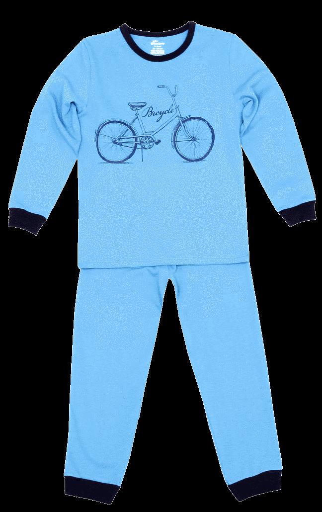 "Pijama Bebe Cu Maneca Lunga, Bleu ""bicicleta"""