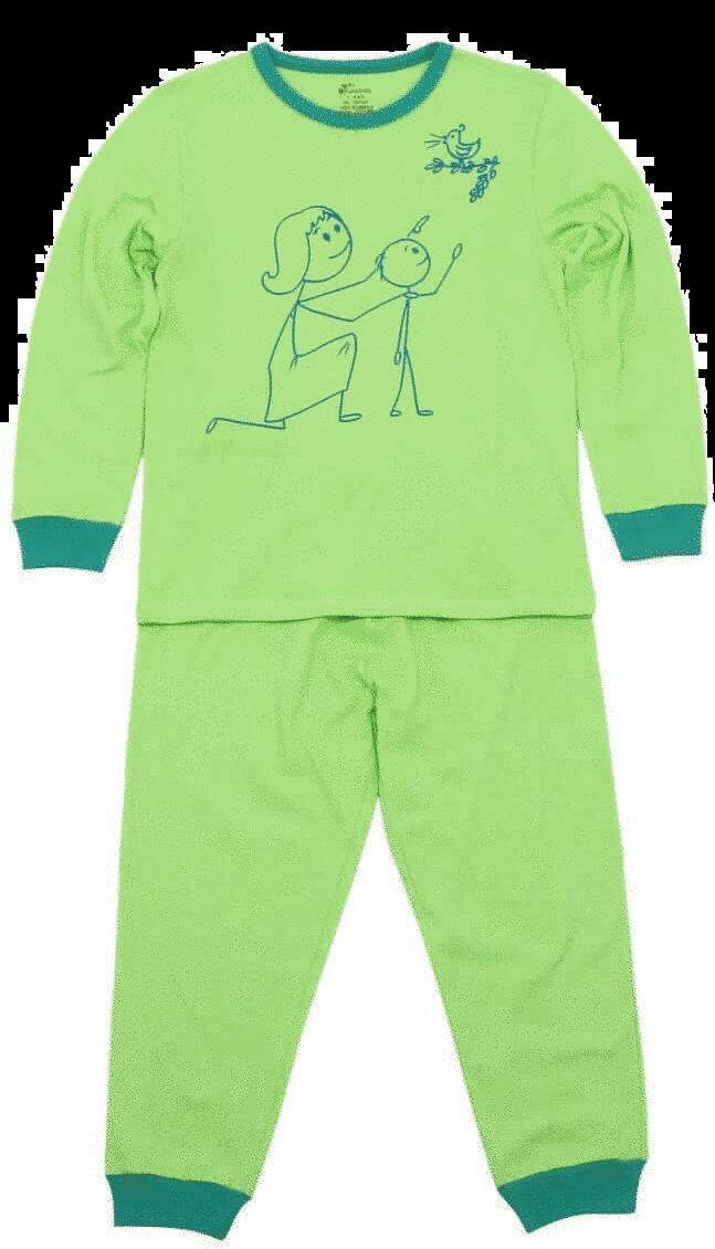 """Pijama Bebe Cu Maneca Lunga De Culoare Verde Fistic """"mama Si Copil"""""""