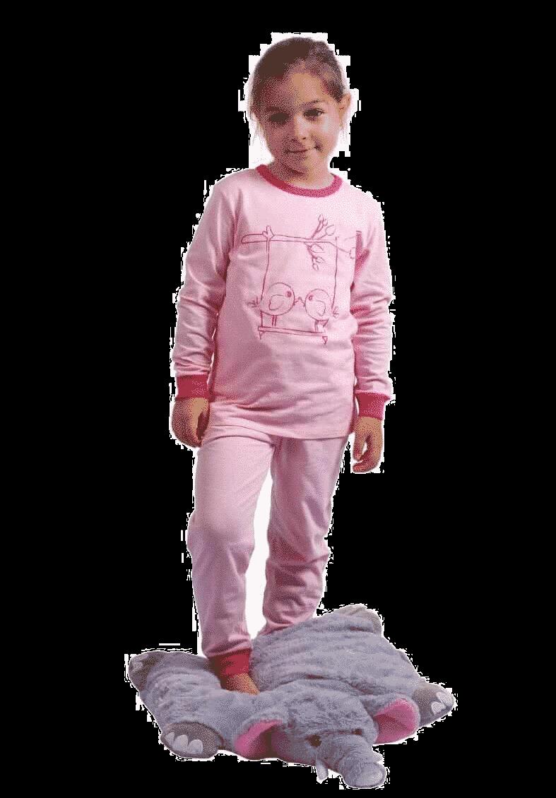 Pijama Bebe Cu Maneca Lunga, Roz