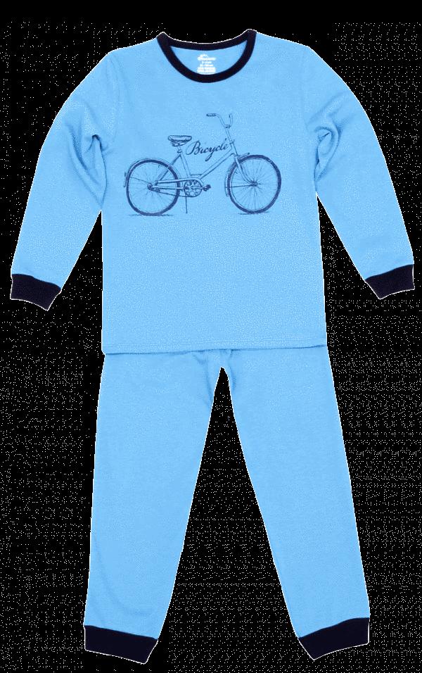 "Pijama Copii Cu Maneca Lunga, Bleu ""bicicleta"""