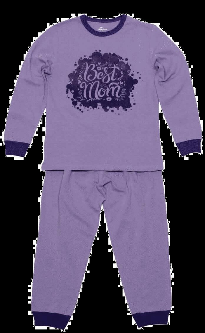 """Pijama Copii Cu Maneca Lunga, Lila, """"best Mom"""""""