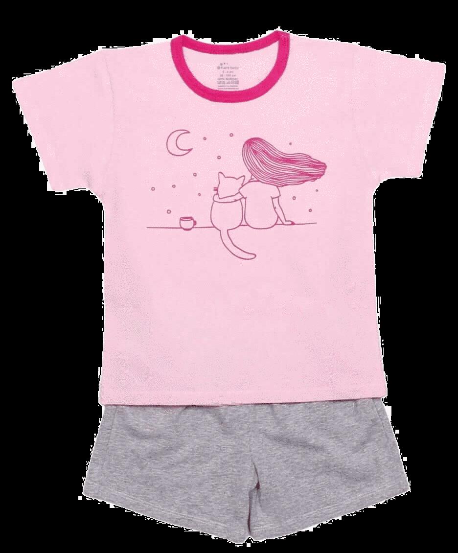 """Pijama De Vara Pentru Bebe, Roz Cu Gri """"...privind Luna"""""""