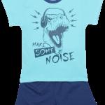 "Pijama De Vara Pentru Copii , Aqua Cu Denim ""make Some Noise"""