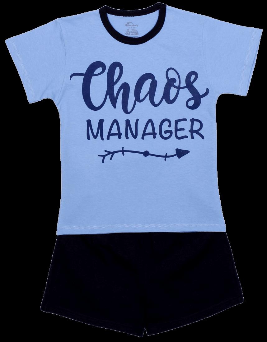 """Pijama De Vara Pentru Copii , Bleu Cu Bleumarin """"chaos Manager"""""""