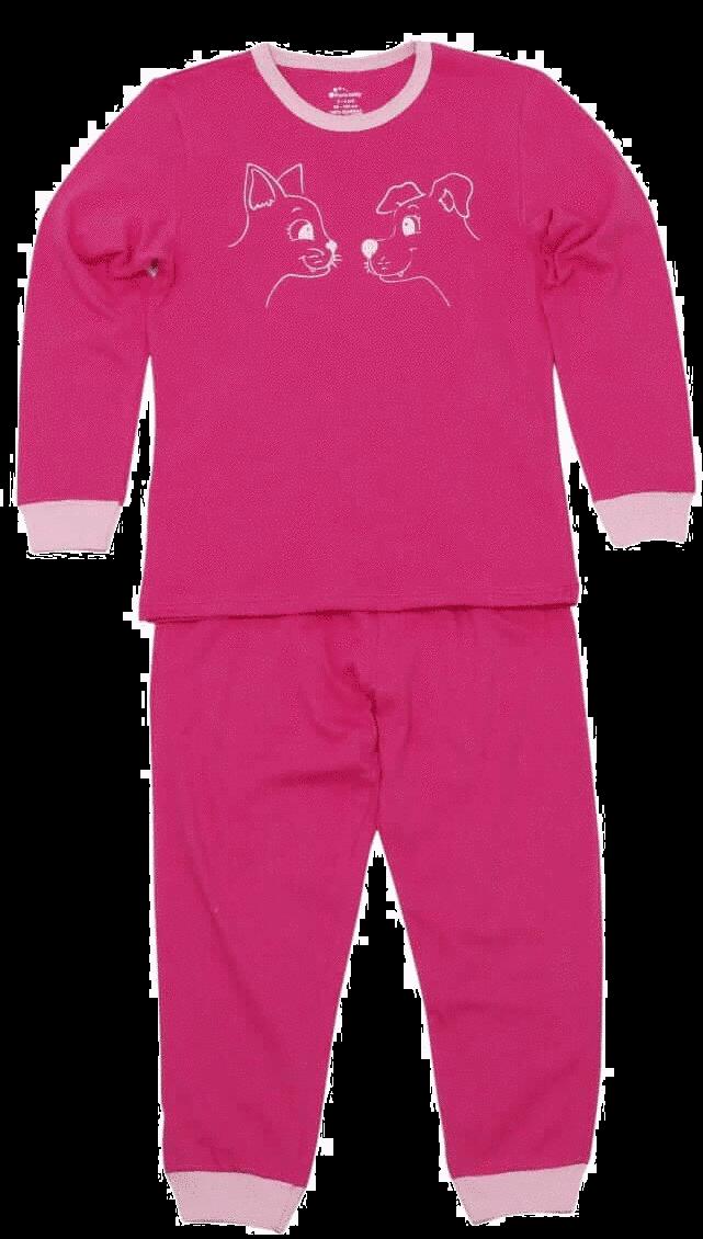 Pijama Fete, Cu Maneca Lunga, Ciclam