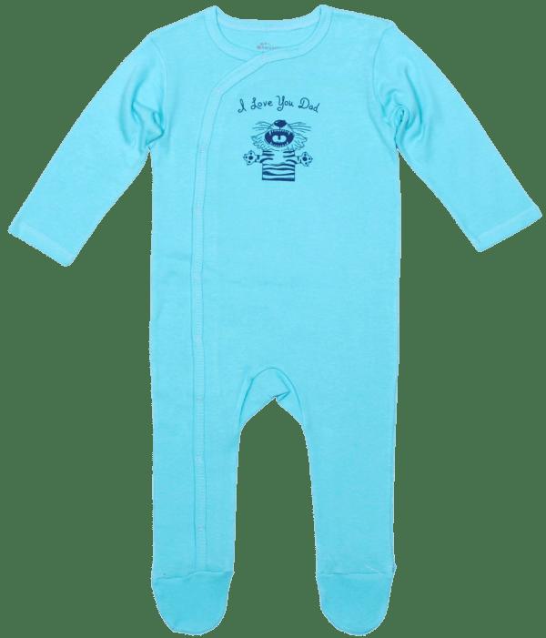 Salopeta Bebe Cu Maneca Lunga, Bleu Aqua