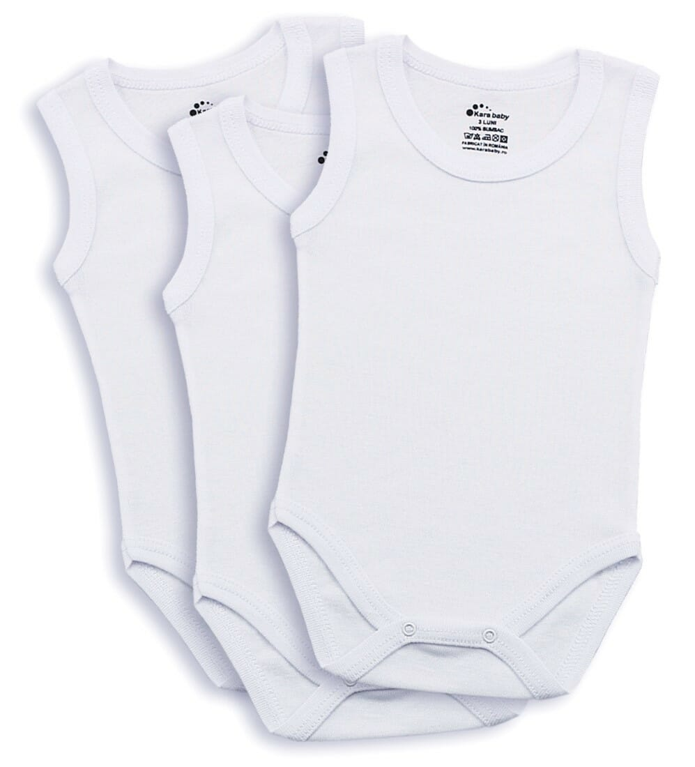 Set 3 Buc Body Copii, Tip Maiou, Alb Simplu