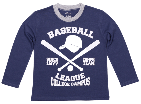 """Tricou Bebe Maneca Lunga, Denim, """"baseball League"""""""