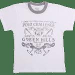 "Tricou Bebe, Maneca Scurta, Alb Cu Gri ""polo Challenge"""