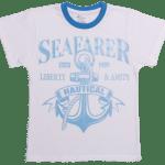 """Tricou Bebe, Maneca Scurta, Alb Cu Turqois """"seafarer"""""""