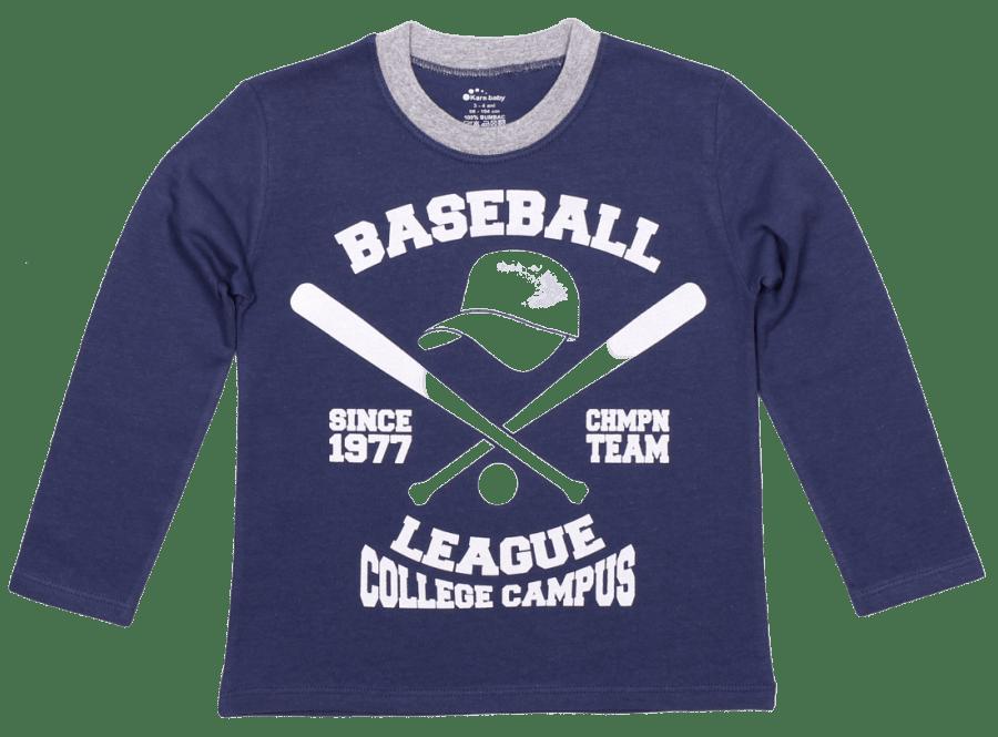"Tricou Copii, Cu Maneca Lunga, Denim, ""baseball League"""
