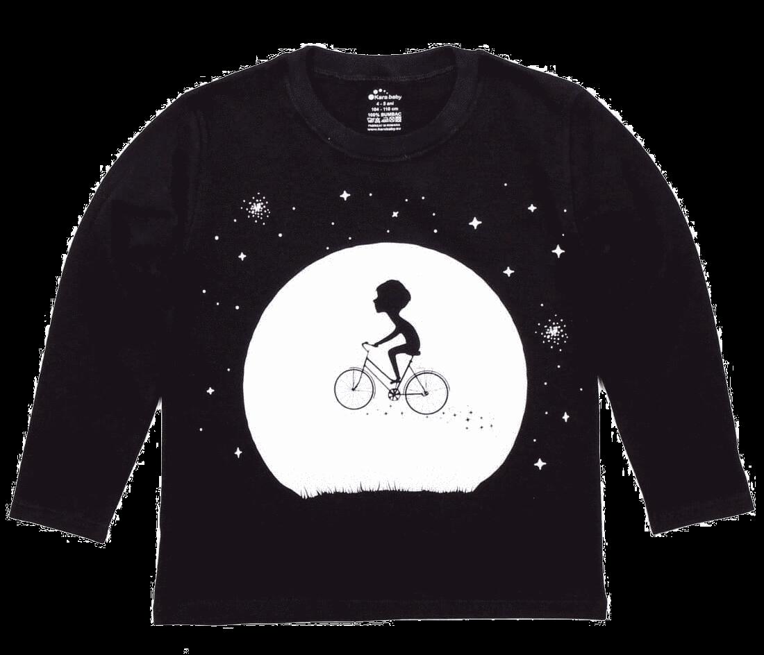 "Tricou Copii, Cu Maneca Lunga, Negru, ""biciclist Interstelar"""