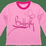 """Tricou Copii, Cu Maneca Lunga, Roz, """"butterfly"""""""