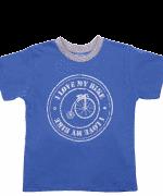 Tricou Copii Maneca Scurta, Albastru Cu Gri, I Love My Bike
