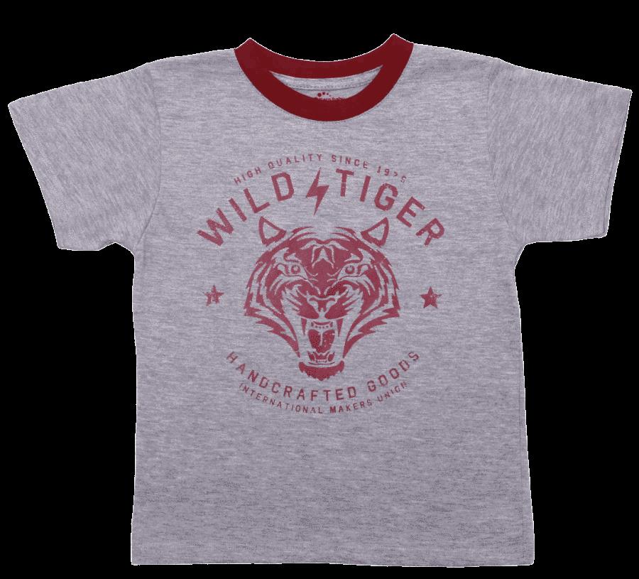 """Tricou Copii Maneca Scurta, Gri Cu Grena, """"wild Tiger"""""""