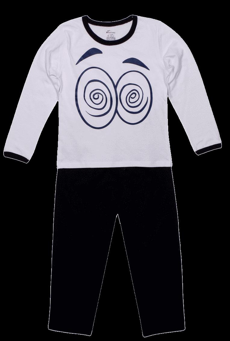 "Pijama Copii, Cu Maneca Lunga, Alb/bleumarin ""hipno"""