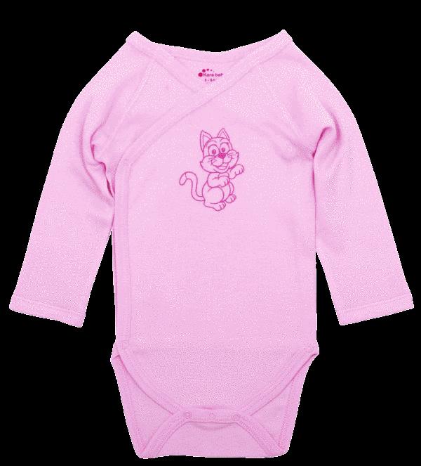 Body maneca lunga pentru prematuri, roz