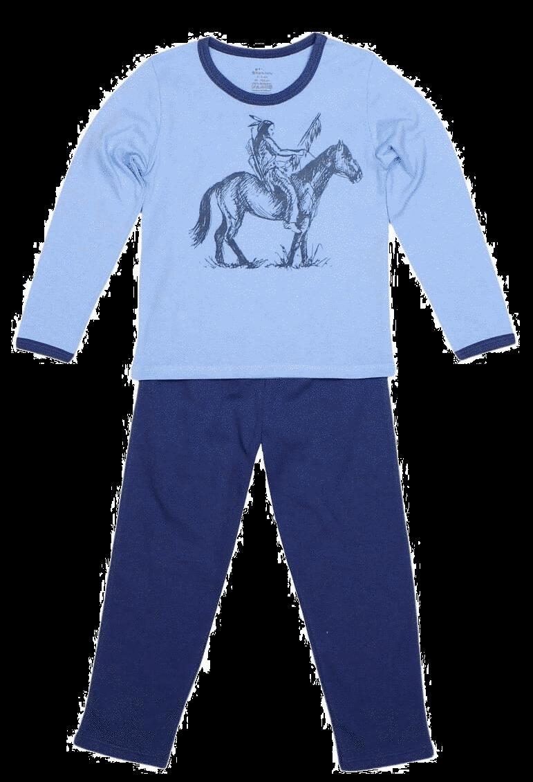 Pijama Copii, Cu Maneca Lunga, Bleu/denim