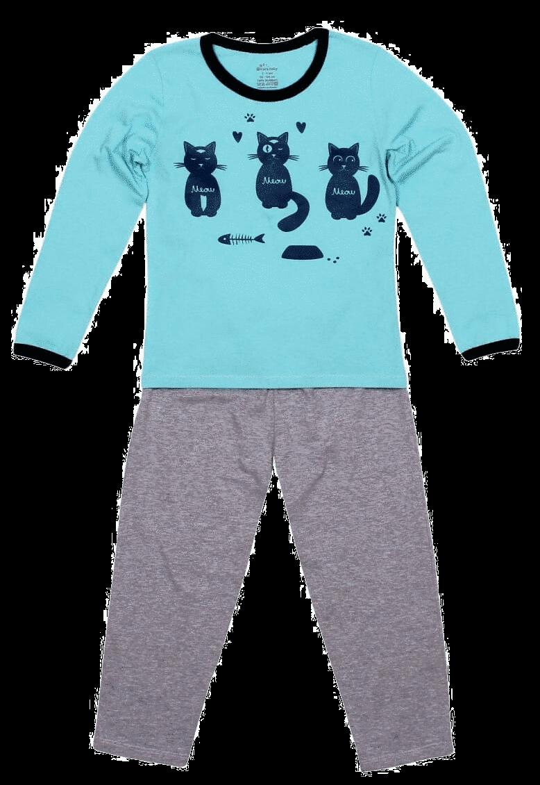 Pijama Copii, Cu Maneca Lunga, Aqua/gri Melange