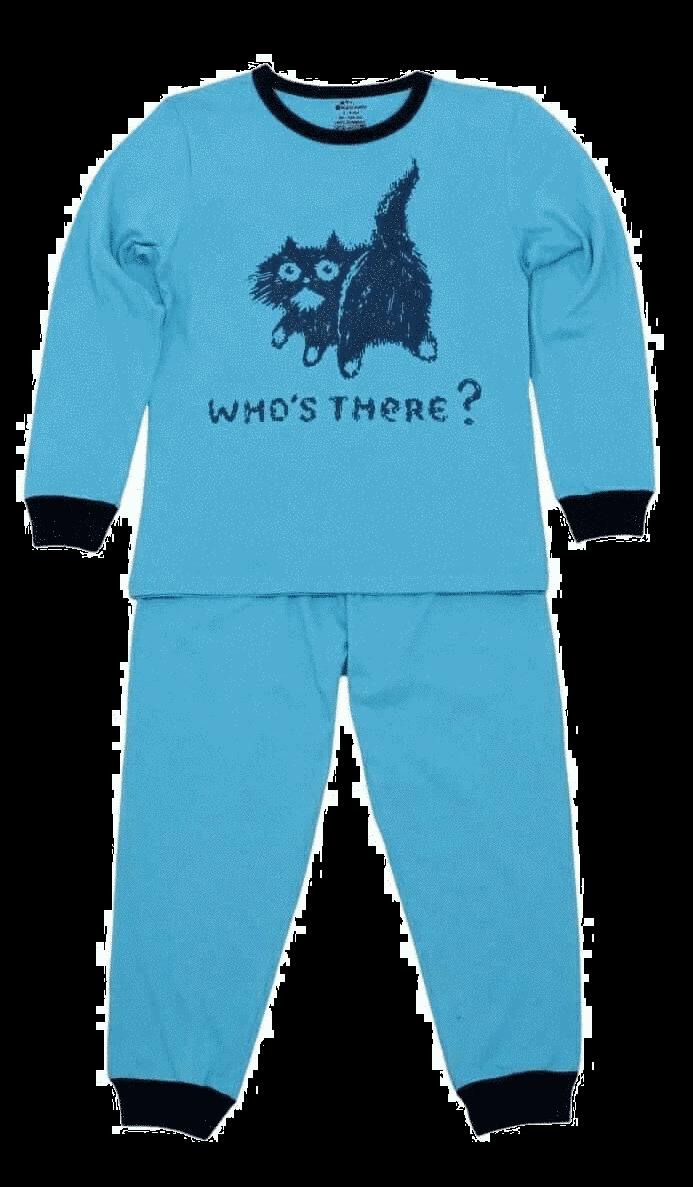 Pijama bebe cu maneca lunga, turqois, who's there ?