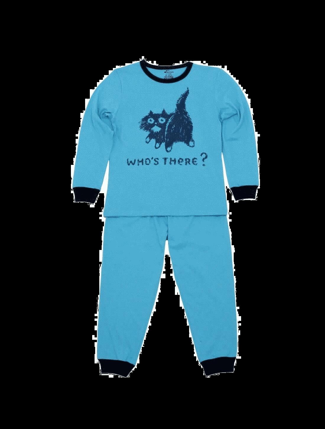 Pijama copii cu maneca lunga, turqois, who's there ?