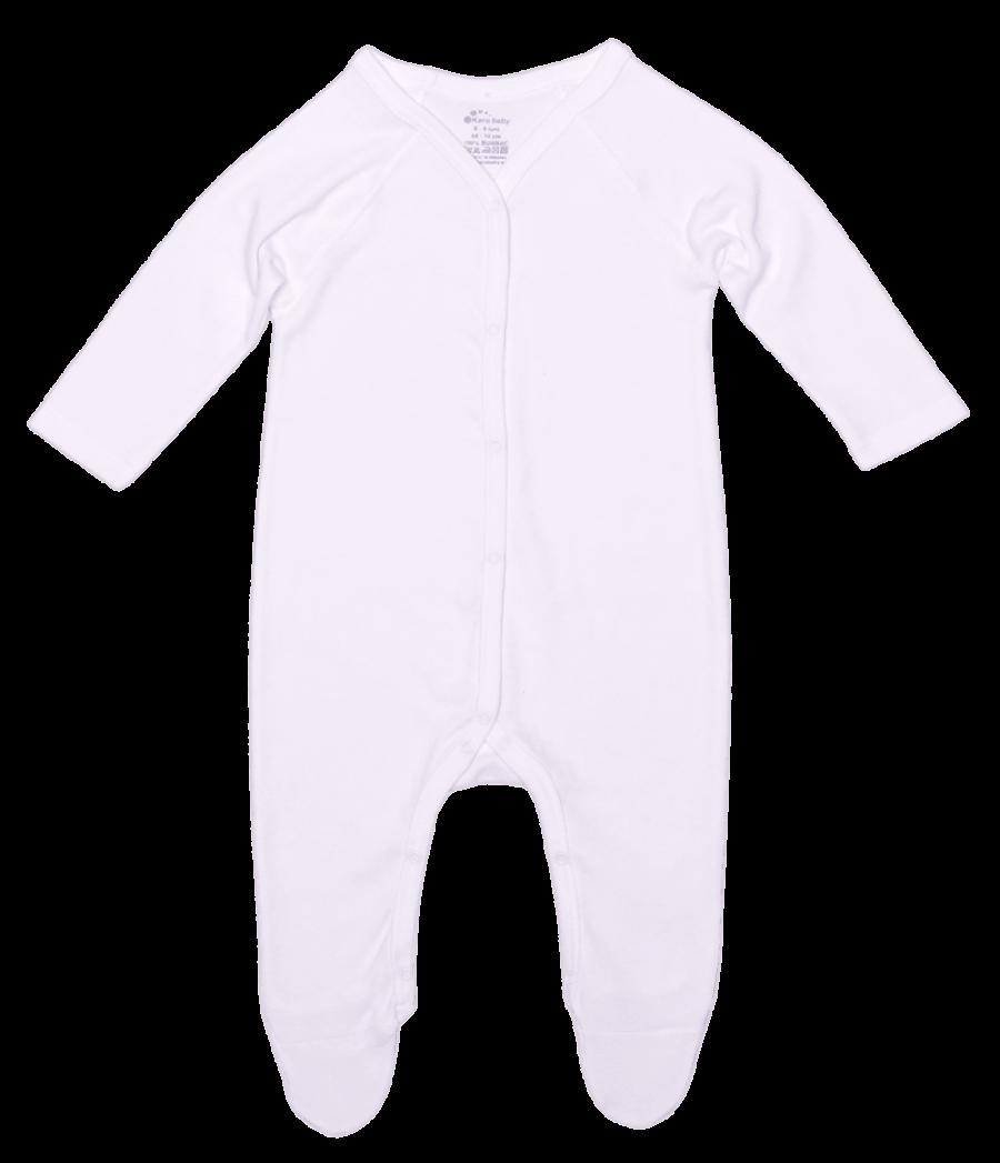 Salopeta bebe simetrica, cu maneca lunga si botosei, alba
