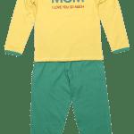 Pijama Copii, Cu Maneca Lunga, Galben/verde