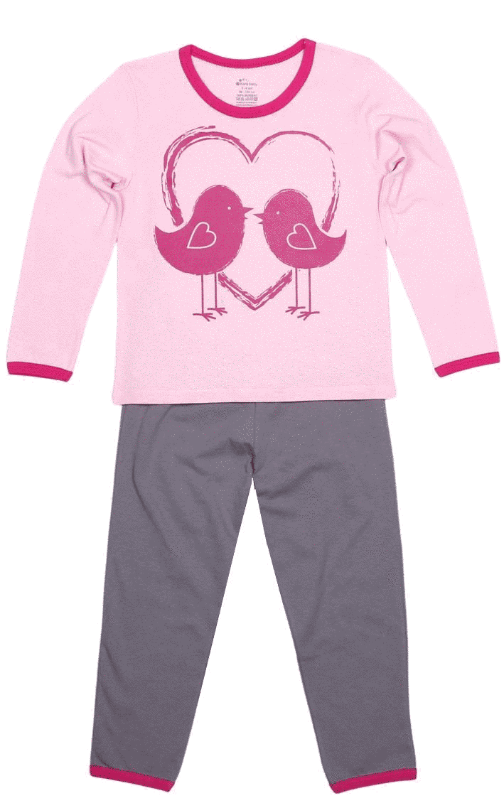 Pijama bebe, cu maneca lunga, bicolora (roz cu gri)