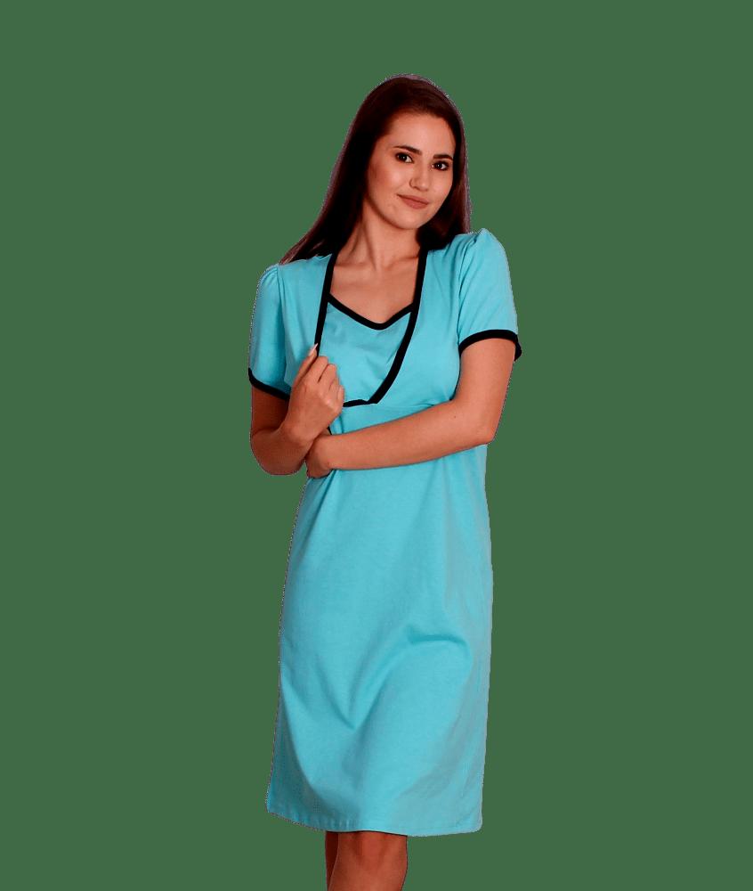 Camasa pentru alaptat, petrecuta, bleu-aqua/bleumarin