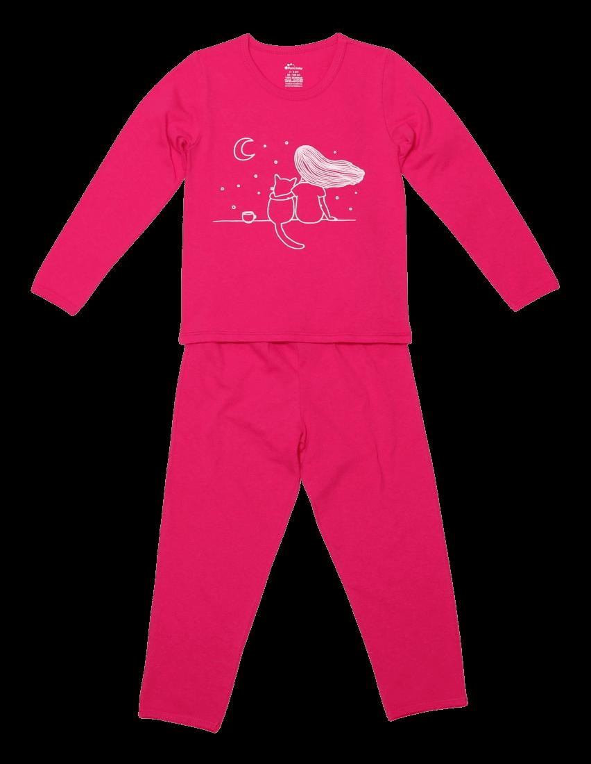 """Pijama bebe, cu maneca lunga, ciclam """"privind cerul..."""""""