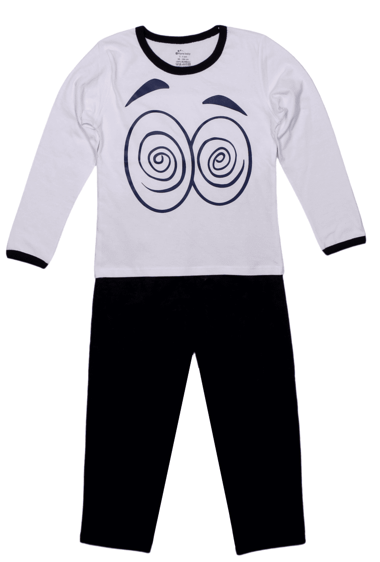 Pijama bebe, cu maneca lunga, alb cu bleumarin